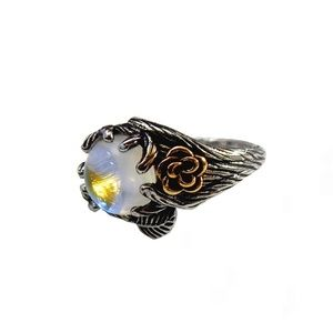 Silver Elven Moonstone Ivy Opalite Ring Size 8